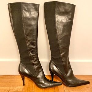 Authentic YSL High Leather/Elastic Boots, 35.5
